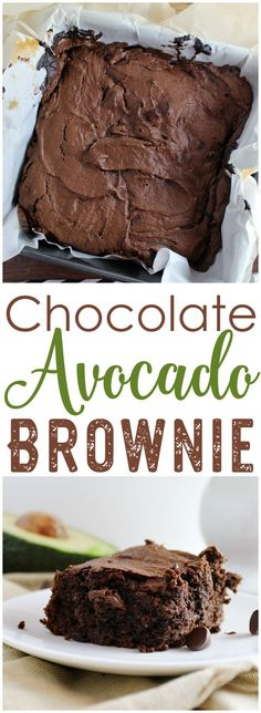 A rich, chocolate, better-for-you brownie! Make these Chocolate Avocado Brownies to get you through when you're craving something delicious! Healthy Baking, Healthy Sweets, Healthy Snacks, Vegan Desserts, Avacado Desserts, Avocado Recipes, Gluten Free Desserts, No Bake Desserts, Vegan Recipes