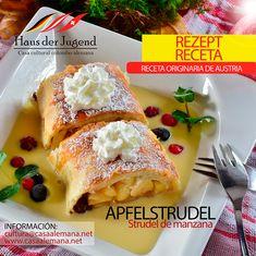 🍎🥄El Apfelstrudel | Strudel de manzana, una estrella de los postres austriacos. Conoce su preparación, historia, un postre ideal para hacer éste fin de semana.  Mira la receta en nuestra web.  Cursos de alemán | Exámenes ÖSD | Eventos culturales  #casaalemana #casaalemanabogota #gastronomia #Bogota #recetassaludables #recetasfaciles #recetas #cosasparahacer #comidaencasa #austria #Alemania #AprendeAleman #cultura #deliciasdelmundo #strudel #apfelstrudel #strudeldemanzana #postres… Austria, French Toast, Breakfast, Food, Gastronomia, Apple Strudel, Easy Recipes, Sweets, Postres