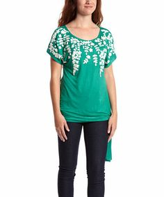 Love this Green & White Floral Embellished Scoop Neck Top on #zulily! #zulilyfinds