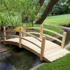Its generous size and graceful design ensure this Freestanding Landscape Garden Bridge in Unfinished Fir Wood will enhance the look of your own personal outdoor oasis. Large enough to use as a tr Pond Bridge, Garden Bridge, Landscape Design, Garden Design, House Landscape, Pond Design, Deck Design, Landscape Architecture, Fire Pit Plans