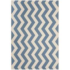 Safavieh Courtyard Blue/Beige Chevron-Pattern Indoor-Outdoor Rug | Overstock.com Shopping - The Best Deals on 7x9 - 10x14 Rugs