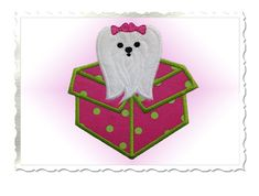 Maltese Puppy Present Applique Machine by RivermillEmbroidery, $2.95