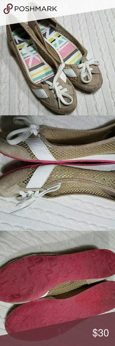 *SALE* Anne Klein Sport Wonton Shoe Color: Tan and white. Material: Fabric upper.Tan part feels like suede (not sure how else to describe the material) it has mesh like on sides and the white is patent leather white. White shoelaces. Right shoe has a minor yellow stain on lace that can be washed. Have not been worn. No box. Anne Klein Shoes