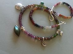 tundra Sapphire,silver, labradorite and aventurine necklace.designed and hand made by Efrat Phini Shifrin-Salinger
