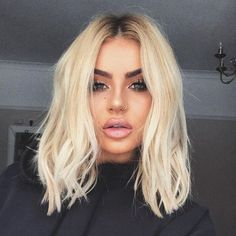 Peruvian Hair Light Blond With Black Root Straight Lace Front Bob Wig - Trending Hairstyles, Pretty Hairstyles, Updo Hairstyle, Sassy Haircuts, Pinterest Hair, Peruvian Hair, Light Hair, Hair Inspo, Hair Looks