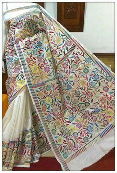 Hand Embroidered Kantha Silk Saree