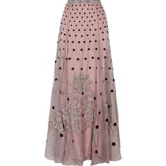 Temperley London Josette embellished polka-dot silk-organza maxi skirt ($1,078) ❤ liked on Polyvore featuring skirts, pink, pink plaid skirt, long red plaid skirt, long pink skirt, tartan skirt and pink skirt