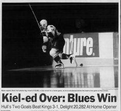 Brett Hull in Blues' First Game at Kiel Center, Blues Nhl, Go Blue, First Game, Hockey Teams, 1990s, Letting Go, Goals, Sports, Kiel