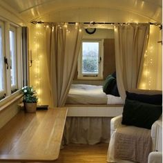 Caravan inspiration  I was originally going to build a pull out daybed but I love the idea of a raised bed at the back end of the caravan. With curtains and soft lighting, this would create a cute little nook for the hubby & I. #caravan #caravanlife #caravanrenovation #viscount #classiccaravan #vintagecaravan #tinyhouse