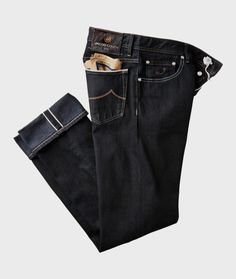 Jacob CohenJeans $998.00 at harryrosen.com Jacob Cohen's handmade jeans are crafted in Italy using premium denim, and finished with exclusive details like embroidery inside the fly, a ponyhair waistband patch and matching handkerchief in the pocket.  thegentlemanssalon.tumblr.com