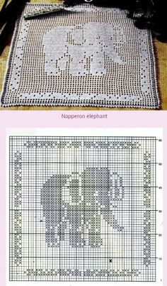 Elephant Filet Crochet doily