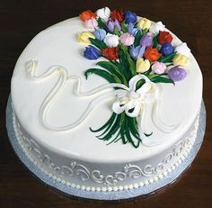 Cake Decorating Designs, Cake Decorating Techniques, Cookie Decorating, Creative Cake Decorating, Buttercream Cake Designs, Cake Icing, Cupcake Cakes, Rodjendanske Torte, Spring Cake