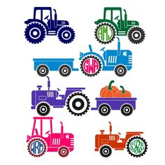 Tractor Pack Cuttable Design Cut File. Vector, Clipart, Digital Scrapbooking Download, Available in JPEG, PDF, EPS, DXF and SVG. Works with Cricut, Design Space, Cuts A Lot, Make the Cut!, Inkscape, CorelDraw, Adobe Illustrator, Silhouette Cameo, Brother ScanNCut and other software.