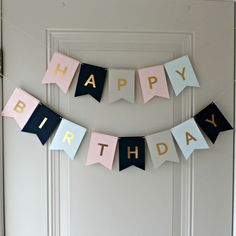 Happy Birthday Banner - Pink, Blue, Black and Gray with Gold Foil Letters by SeaSquaredParties on Etsy https://www.etsy.com/listing/245537313/happy-birthday-banner-pink-blue-black