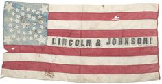 Spectacular 34 Star Lincoln-Johnson Campaign Flag all hand-sewn cotton and double-appliqued stars. (46 in. x 23 in.).
