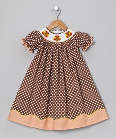 d2f287a41 Jadeyns thanksgiving dress gobble gobble :) Take a look at this Brown  Turkey Bishop Dress - Infant, Toddler & Girls I bought at zulily today!