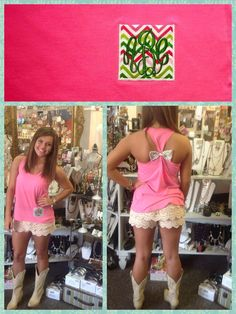 Hi low Racer back tanks with chevron monogrammed pocket and bows on back at Thats Hot! Call to order yours today at 256-378-0906