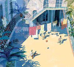 Summer in Baku, Sunny day print, Summer illustration, 60s, Summer in the city…