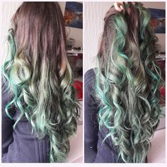 Brown to Alpine Green Ombre Hair Color