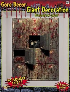 Giant 4x5 MORGUE WALL GORE DECOR Halloween Haunted House Scene Setter. CSI Dexter Walking Dead theme inspired. Realistic highly detailed image depicts a bloody dead body storage facility with open drawers revealing a toe tagged corpse and brain. - http://www.horror-hall.com/Bloody-Horror-MORGUE-WALL-GORE-DECOR-Halloween-Prop-Decoration-HH-FM-70579.htm