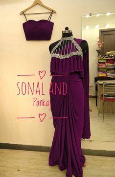 Wine Saree With Hand Embroidered Tassels Cape - – Sonal & Pankaj Sari Blouse Designs, Fancy Blouse Designs, Sari Design, Lehenga Designs, Stylish Sarees, Stylish Dresses, Saree Gown, Lehnga Dress, Saree Blouse