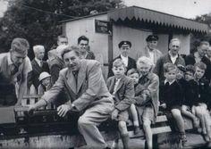 Walt Disney riding on the train in Ridgeway Park Chingford.
