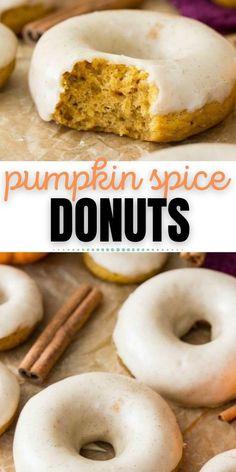 Pumpkin Spice Donut Recipe, Baked Doughnut Recipes, Easy Donut Recipe, Healthy Baked Donuts, Cake Donut Recipe Baked, Vegan Donut Recipe, Protein Donuts, Homemade Donuts, Homemade Desserts