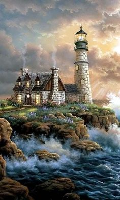 DPF DIY Beach house diamond painting cross stitch crafts diamond embroidery home decor diamond mosaic square wall painting Thomas Kinkade Art, Graffiti Kunst, Kinkade Paintings, Lighthouse Painting, Lighthouse Pictures, Cross Paintings, Oil Paintings, Pictures To Paint, Beautiful Paintings