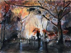 Imprimer aquarelle d'art - la pluie d'automne