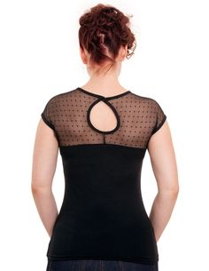 11d9fbca7d8 Miss Fancy Black Mesh Polka Dot Pin Up Top - Modern Grease Clothing and Accessories  Co