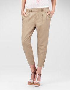 pantalon lin stradivarius
