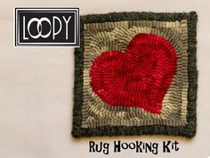 DIY Craft Kit, Rug Hooking Kit for Beginners, Primitive Rug Hooking Kit, Craft Kit by LoopyWoolSupply on Etsy Craft Kits, Diy Kits, Adult Crafts, Easy Crafts, Rug Hooking Kits, Kit S, Small Rugs, Fiber Art, Gifts For Her