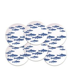 School of Fish - Blue - Canapes Boxed Set/6 - CAN-120 | Caskata Artisanal Home
