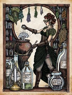 Ezlynn the Industrial Witch by Bobbie Berendson W | Art Print