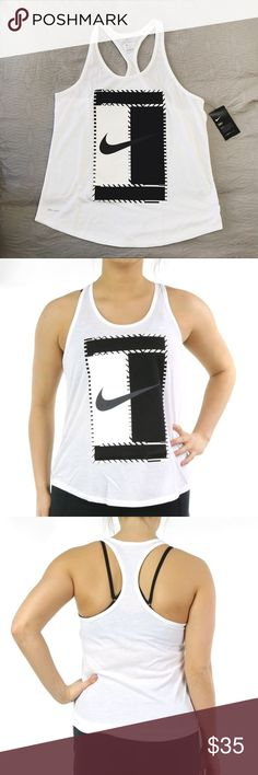 Nike Court Logo Racerback Tank •White racerback tank with a Nike court logo.   •Size Large, semi-fitted cut.  If you want a relaxed fit please size up.  •New with tag.  •NO TRADES/HOLDS/PAYPAL/MERC/VINTED/NONSENSE. Nike Tops Tank Tops