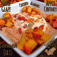 1/3 cup oats 2/3 cup water cinnamon  1 pac stevia Microwave for 3:00 Add 1/3 cup egg whites  Whisk and microwave for :30 Repeat AppleChiaChutey: Chop a Honeycrisp apple  add cinnamon, 1tsp-1tbsp chia seeds and 1/4 to 1/2 cup WF pancake syrup Microwave for 1:00 stir Microwave for 1:00 stir Microwave for :30 sec  Repeat until desired apple texture  maple glaze frosting  1/3 cup Greek yogurt 1/4 tsp maple ext 1 tbsp WF pancake syrup  2 drops @SweetLeaf Stevia Sweetener English Toffee