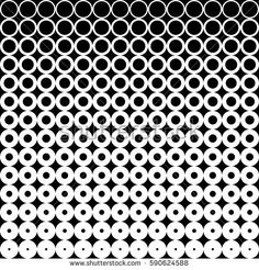 Halftone texture. Gradient effect with circle dots. Horizontal seamless halftone lattice. Abstract black white background vector. Geometric graphic stippling. Spotted design in retro style.
