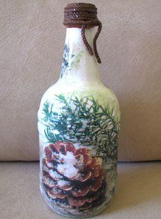 Glass Bottle Decor Handmade Decorative Table Vase Flower Winter Home Patio Gift #Handmade #ArtDeco Bottle Vase, Glass Bottles, Glass Vase, Handmade Decorations, Table Decorations, Terrarium Containers, Home Decor Vases, Wood Cutting Boards, Winter House