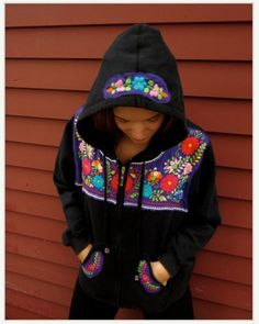 Mexican dress cut up & put on hoodie