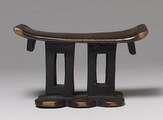 "Headrest, 19th–20th century Zimbabwe; Shona people Wood      Wood headrests are both a longstanding and widespread form created by African sculptors. Shona sculptors from present-day South Africa, Zimbabwe, and Mozambique have contributed a rich range of formal and aesthetic interpretations.      Among the Shona, headrests served as a kind of ""pillow"" used by adult males to sleep."