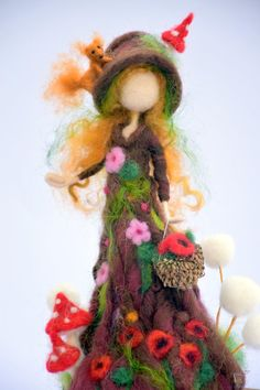 Your place to buy and sell all things handmade Needle felted art fantasy doll Tree guardian Waldorf inspired Felted Wool Crafts, Felt Crafts, Bordado Popular, Fairy Gifts, Felt Fairy, Wool Art, Nature Table, Fairy Dolls, Felt Dolls