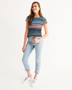 Women's T Shirt With Colorfull Abstract Stripes Mom Jeans, Curves, Dress Up, Stripes, T Shirts For Women, Tees, Fabric, How To Wear, Collection
