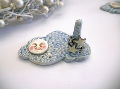 ring holders pottery hand built | So cute. Ring Holder Moon Cloud Ceramic Pottery Island by ...