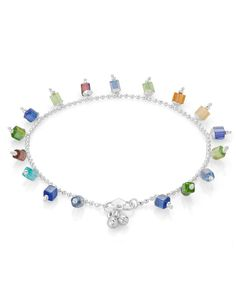 Spectacular Silver Plated Cubical Crystal Anklets