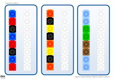 Activities based around copying simple patterns with maths cubes. All patterns included use 3 colours. Version 1 is designed to compliment Unifix cubes while version 2 compliments Multilink. If preferred, pupils can copy the patterns using coloured pen. Numbers Kindergarten, Math Numbers, Kindergarten Activities, Preschool Activities, Maths Area, Math Patterns, Cube Pattern, Early Math, Math For Kids