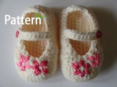 Ribbon flower crochet baby shoes pattern