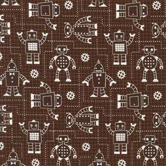 PlushAddict - Robert Kaufman - Robot Factory Brown - cotton fabric