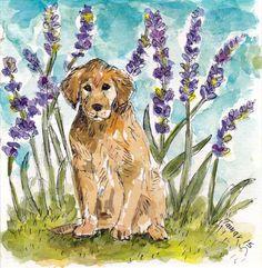 Golden Retriever By Lavender  Original by TamarHammersArt on Etsy
