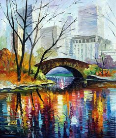 Central Park — New York USA Cityscape Wall Art Oil Painting On Canvas By Artist Leonid Afremov. Size: X Inches cm x 100 cm) Easy Canvas Painting, Painting Prints, Canvas Wall Art, Painting Clouds, Bridge Painting, Art Prints, Painting Art, Watercolor Painting, Canvas Prints