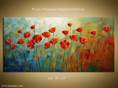 Featuring a vibrant red blooming poppies on texture filled colorful background, gallery quality painting by Nizamas : ORIGINAL Poppies Abstract Oil Flowers Painting Poppy by Artcoast Abstract Backgrounds, Colorful Backgrounds, Sell My Art, Painting Gallery, Oil Painting Abstract, Bull Painting, Abstract Flowers, Painting Flowers, Blue Art